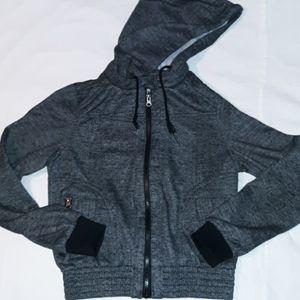 Miss London Zip Up Hoodie Sweatshirt Jacket Grey M